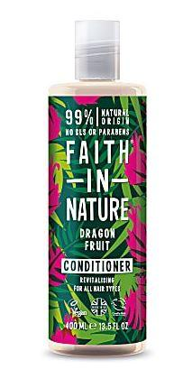 a clear plastic bottle and cap with decorated green and pink leaves on the label. Label shows faith in nature dragon fruit conditioner