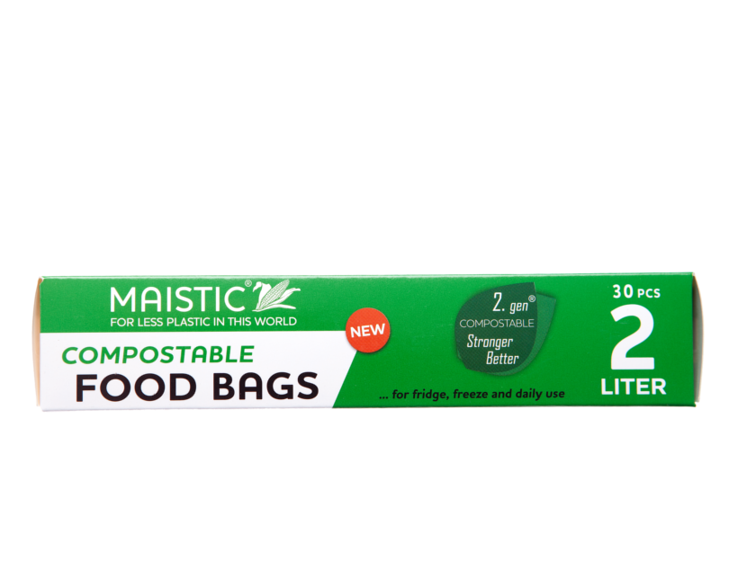 A green and white card box packaging showing maistic compostable food bags 2ltr.
