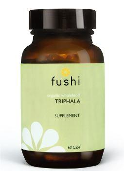 Brown glass jar with black lid. Label shows fushi Triphala.