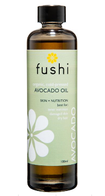 Clear glass bottle with black cap. Label shows Fushi Organic avocado oil.
