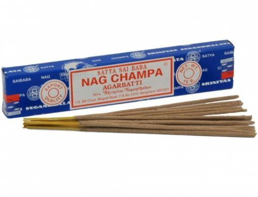 A rectangular bright blue box with red and white labelling showing satya sai baba nag champa argabatti