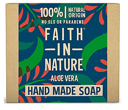 A natural brown card rectangle soap box with illustrated blue background and red and green leaves, showing faith in nature organic aloe vera soap.