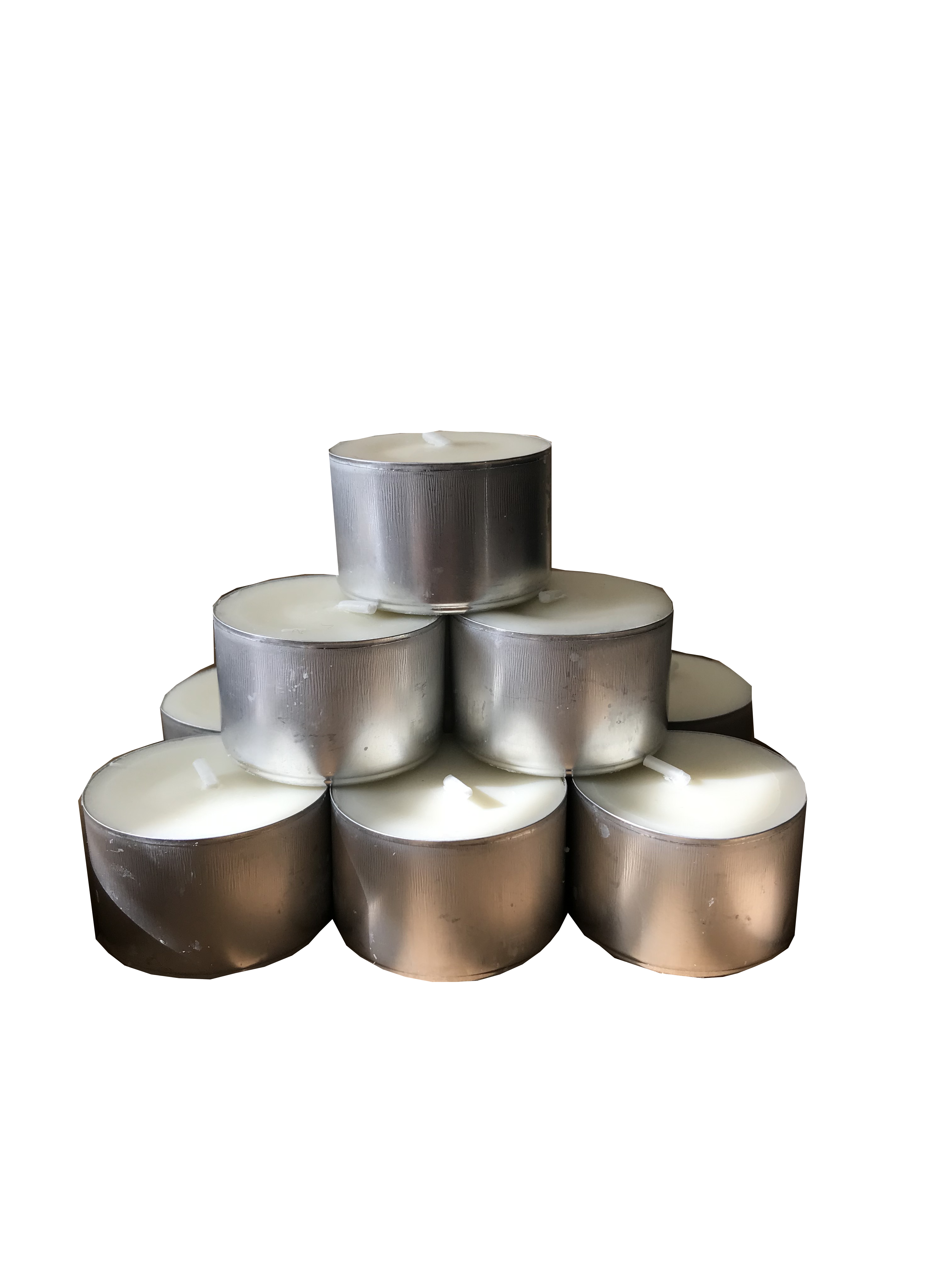 A stack of tea lights, white wax in silver aluminium candle cups.