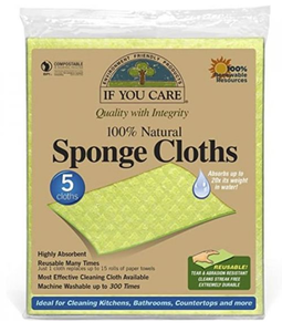 Green square sponge cloths in clear packaging. Labelling shows If You Care certified compostable sponge cloths.