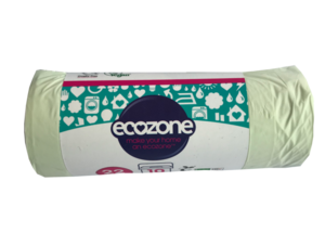A small roll of pale green bags with wrap around paper band label showing ecozone.