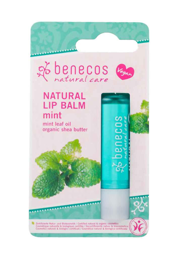 Mint green card blister packet with mint green lip balm, label shows benecos natural lip balm mint