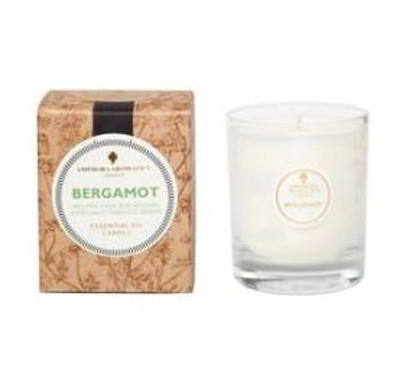 ivory candle in clear glass pot with natural brown gift box labelled amphora bergamot