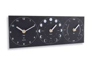 rectangular black slate like base with three clock faces