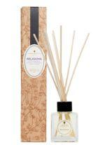 glass bottle with natural reed sticks together with a tall natural brown flower decorated box showing relaxing reed diffuser