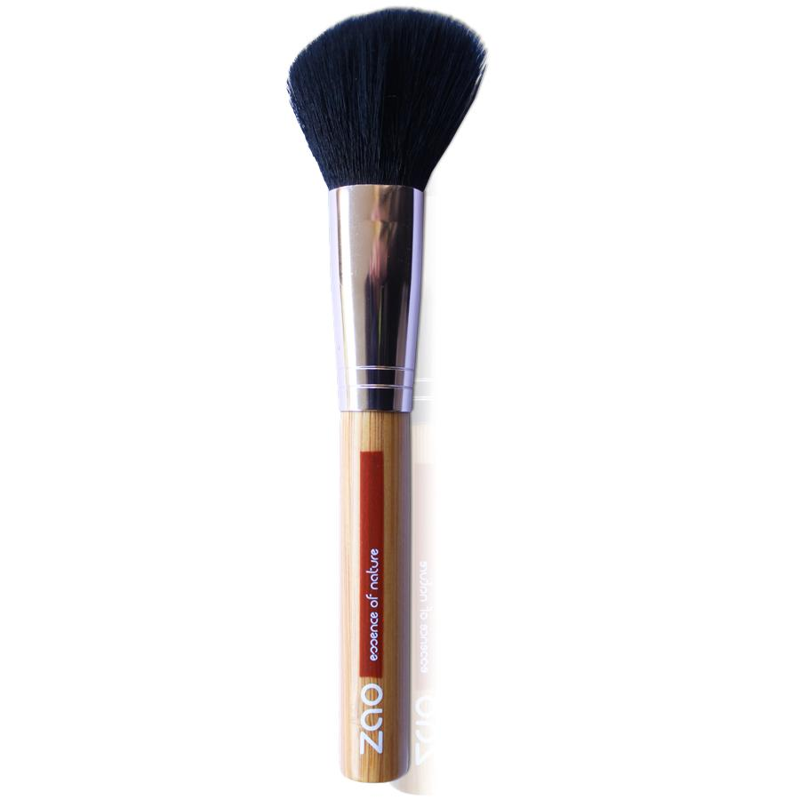 blusher brush with light bamboo wood and rose gold metal handle, black synthetic hair, label shows Zao