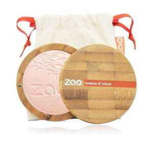 open bamboo powder compact showing pink compact powder with natural white pouch behind, label shows Zao