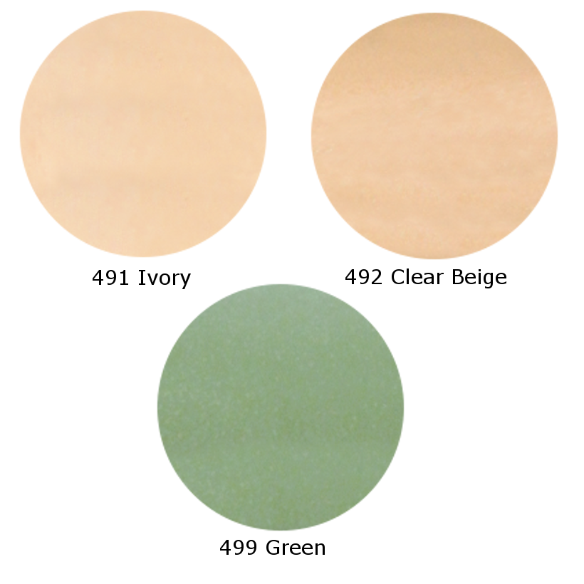 three circles of concealer shades, 491 Ivory, 492 Clear Beige, 499 Green