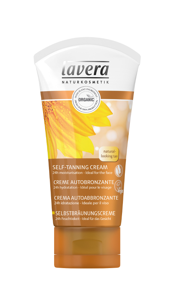 white squeezy tube with golden brown cap and image of sun flower on bottle, label shows lavera self tanning cream