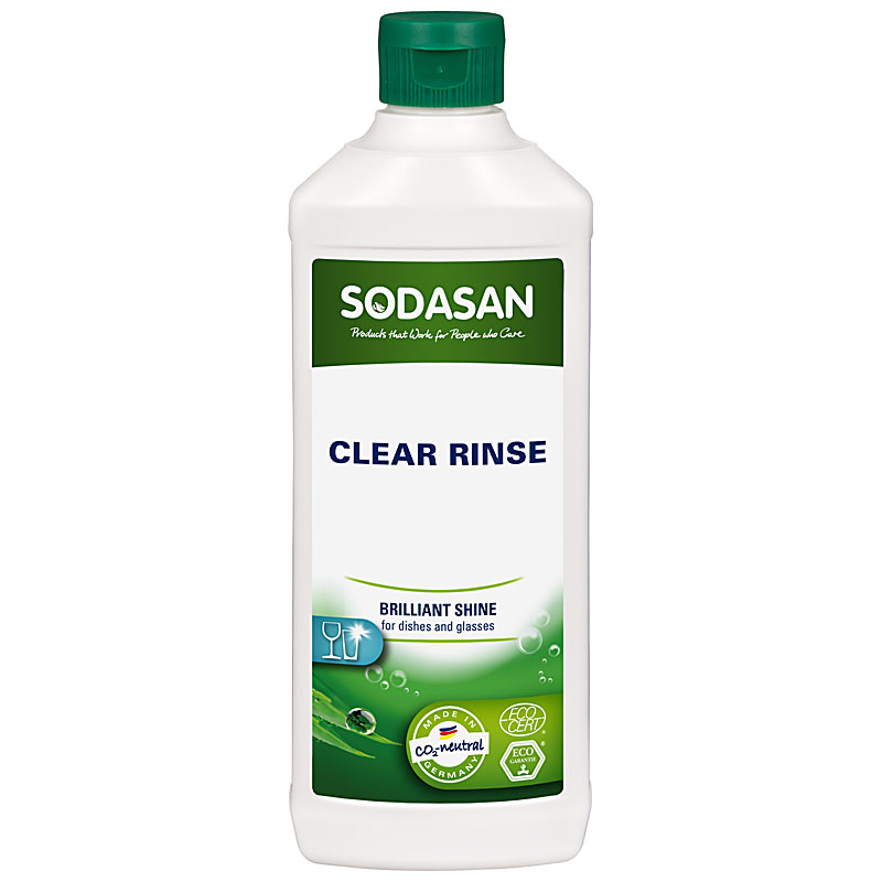White plastic bottle with dark green cap. Green label shows sodasan in white, clear rinse in black