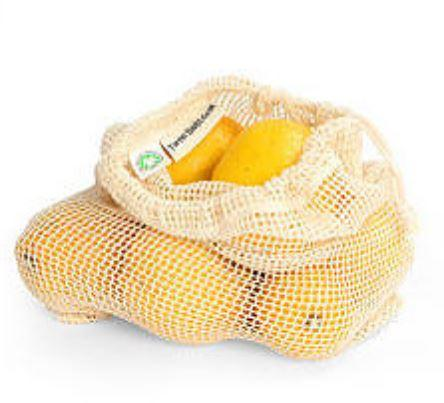 open woven net bag with draw string. Filled with oranges.