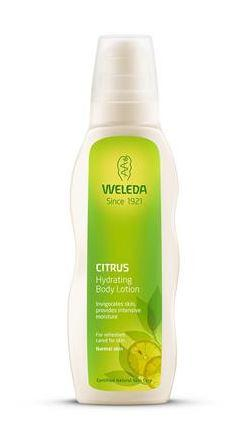 a white plastic bottle with white cap. Green label shows weleda hydrating citrus body lotion.