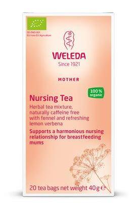 Pink box packaging. Label shows weleda nursing tea.