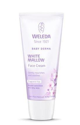 A white and lilac squeezy tube with white cap. Label shows weleda white mallow face cream.