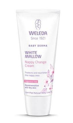 A white and lilac squeezy tube with white cap. Label shows weleda white mallow nappy change cream.