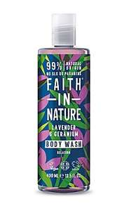 clear bottle with white cap. Dark green label decorated with purple and green leaves. Label shows faith in nature body wash lavender and geranium.