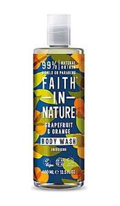 Clear plastic bottle with white cap. Decorative  dark green label with images of orange and yellow circles and green leaves. label shows faith in nature grapefruit and orange body wash