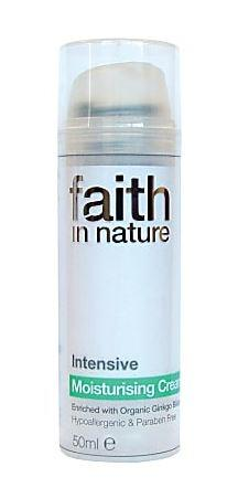 A white pump bottle with clear cap. Label shows faith in nature intensive moisturising cream.
