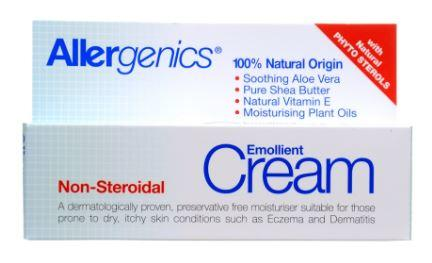 A white and blue squeezy tube with white cap. White and blue box packaging. Label shows in blue Allergenics emollient cream.