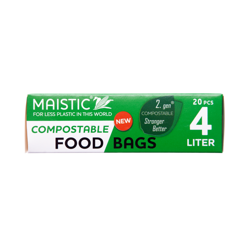 A green and white card box packaging showing maistic compostable bags 4ltr.