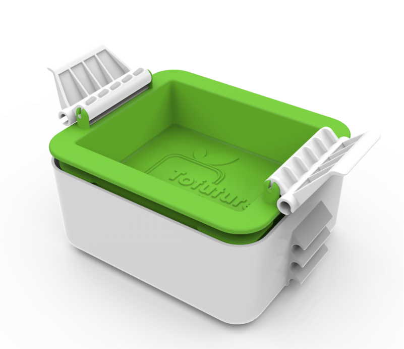 Full image of white rectangular plastic container with green top.