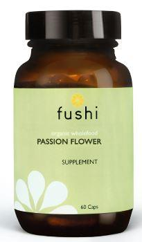 Brown glass jar with black lid. Label shows fushi passion flower.