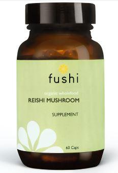 Brown glass jar with black lid. Label shows fushi Reishi Mushroom.