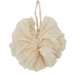 A crochet cream bath shower puff with natural fibre hanging loop. Dark green card label attached showing eco bath ramie bath puff.