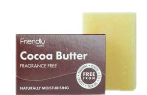 Small rectangular brown box soap packet, showing white text friendly soap cocoa butter fragrance free. Cream natural rectangular soap bar stood behind.