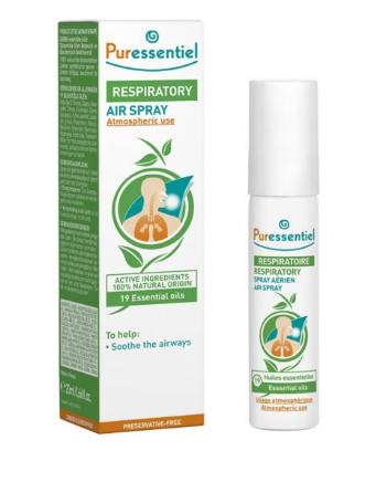 white card box packaging with green and orange labelling showing puressentiel respiratory air spray.  White metal atomiser spray bottle with green cap.
