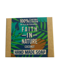 A natural brown  soap box packaging with blue and green exotic leaf detail. Labelling shows faith in nature coconut hand made soap