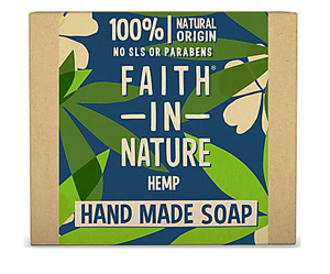 A natural brown card soap box with blue and green leaf decoration.  Box text shows faith in nature Hemp hand made soap.