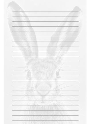lined notebook page with black and white watermark hare image