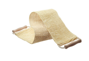 Long natural coloured woven sisal back strap with light natural coloured beechwood handles