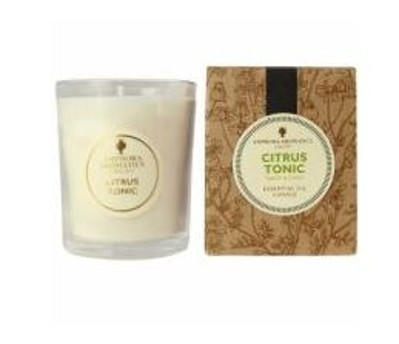 ivory candle in clear glass pot with natural brown gift box labelled amphora Citrus Tonic