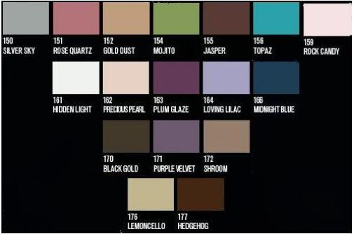 chart showing shades of nvey eco organic eyeshadow