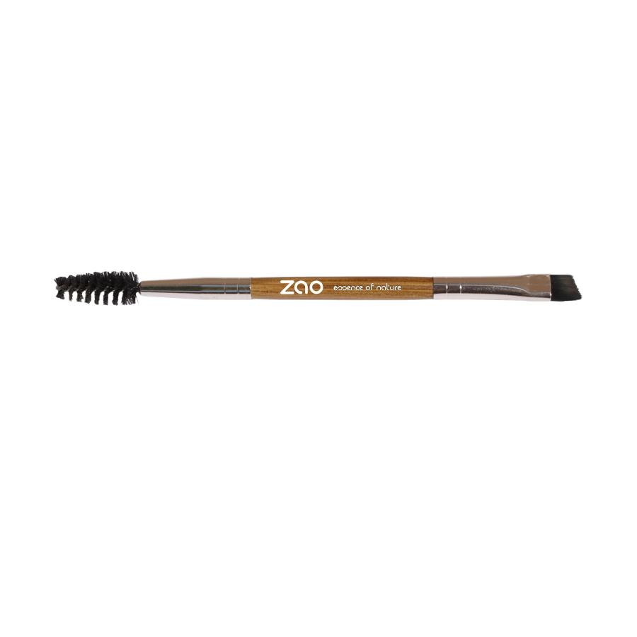 duo eyebrow brush, centre handle of light bamboo wood and rose gold metal ends. One end has a black brush wand and the other has an angled brush of  black synthetic hair.