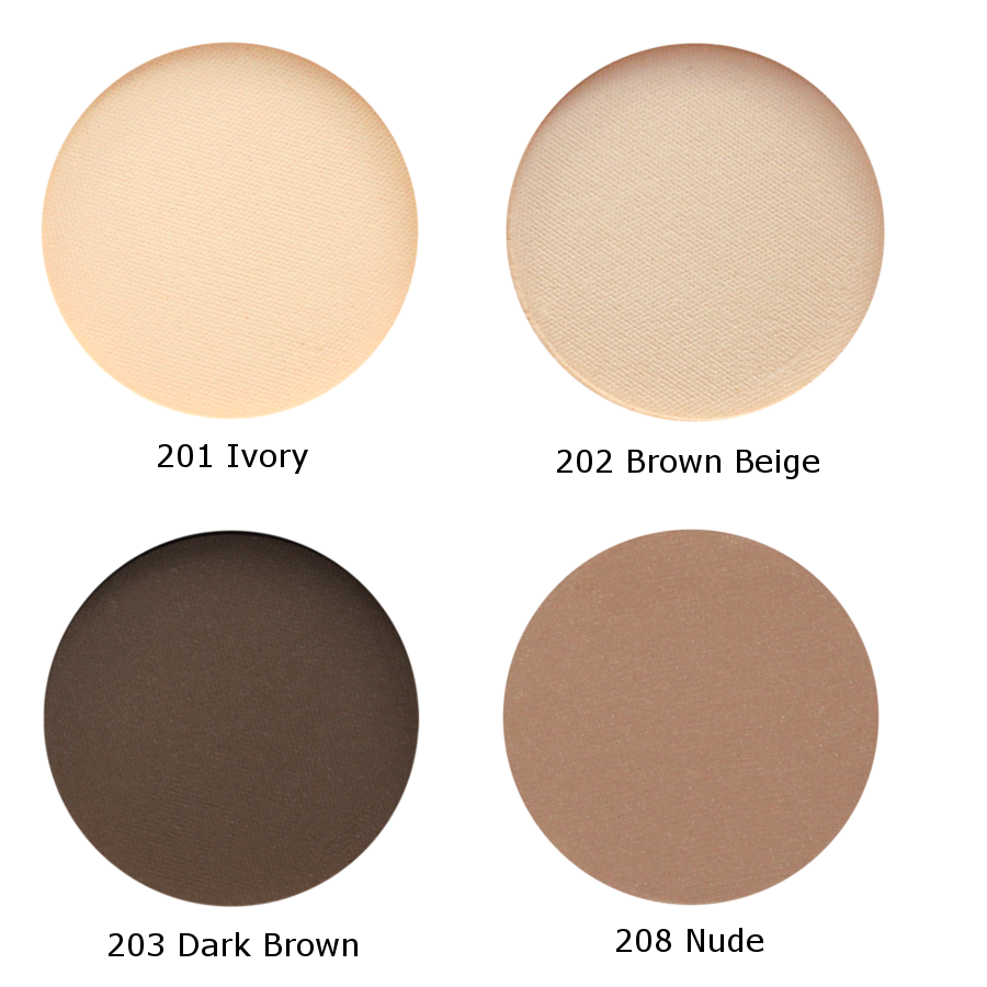 four matt eyeshadow shades show in circle formats 201 ivory, 202 brown beige, 203 dark brown, 208 nude