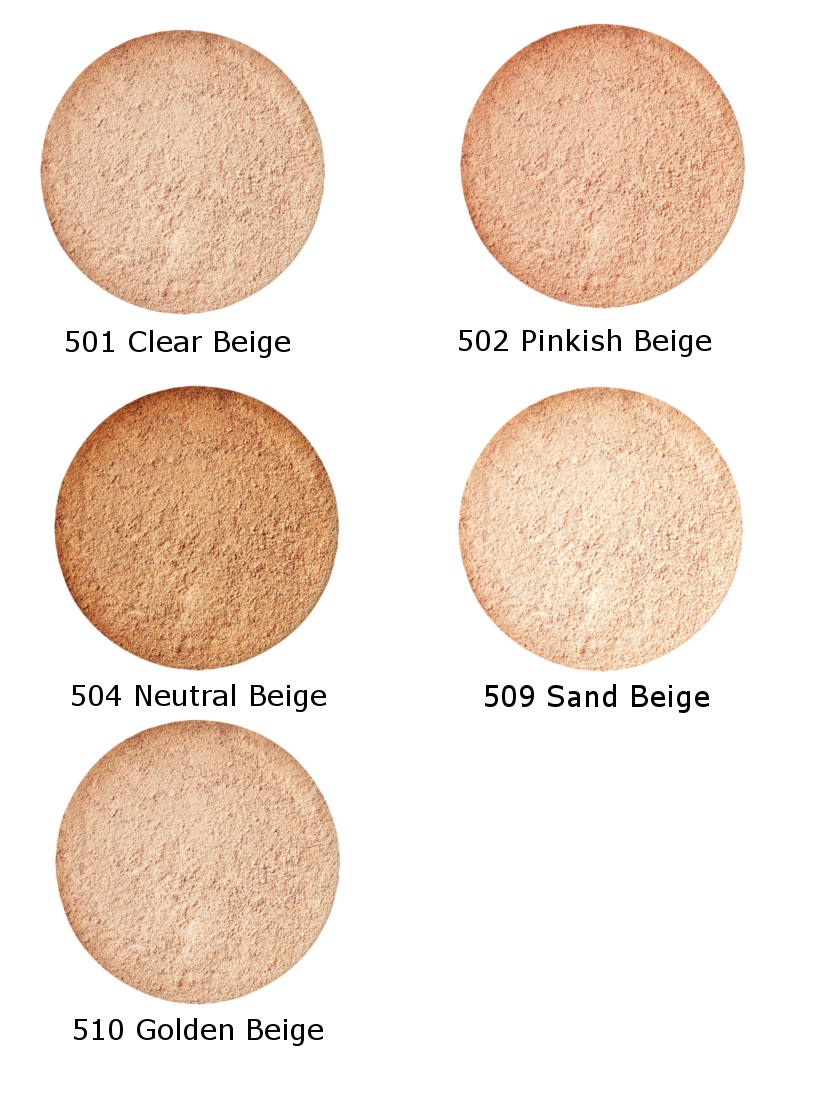 five circle shades of mineral silk powder, 501 clear beige, 502 pinkish beige, 504 neutral beige, 509 sand beige, 510 golden beige