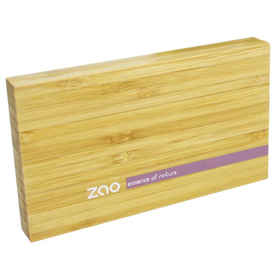 closed bamboo make up case on white background