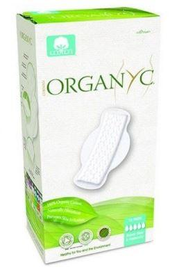 green and white box packaging showing winged sanitary pads, label shows organyc.