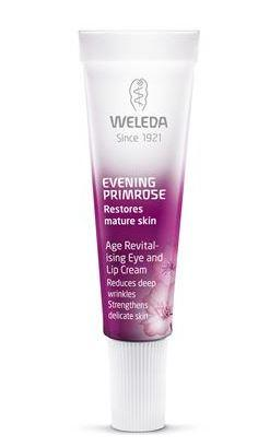 small puple and white tube with white cap. labelling shows weleda evening primrose age revitalising eye and lip cream.