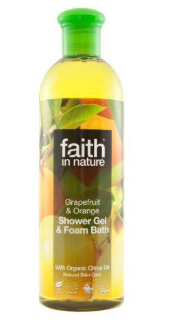 clear plastic bottle with black cap. Photo image label of grapefruit and oranges. label shows faith in nature grapefruit and orange foam bath.