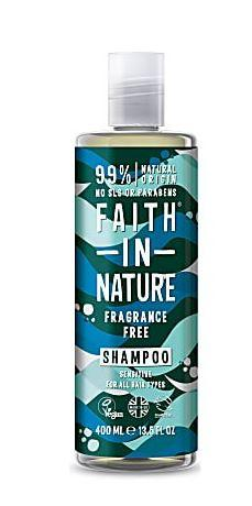 clear bottle and cap. Blue label decorated with blue leave images. label shows faith in nature fragrance free shampoo.