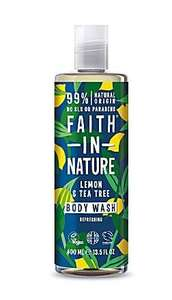 clear plastic bottle and cap. Decorative dark green label with yellow lemon and green leaf images. Label shows faith in nature lemon and Tea Tree body wash.