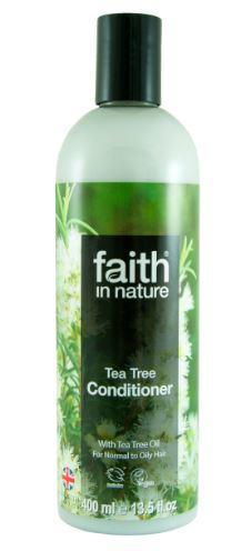 A clear plastic bottle and black cap. Label has photo image of tea tree trees. Label shows faith in nature tea tree conditoner